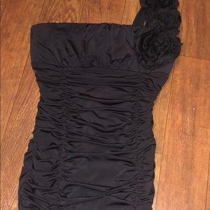 Body Central One Shoulder Ruched Black Mini Dress